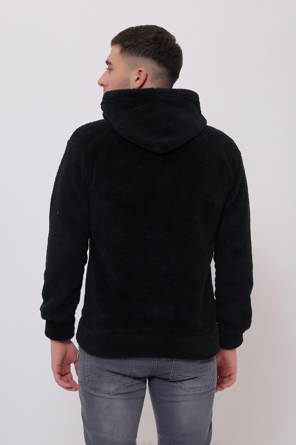 Siyah Erkek Kanguru Cepli Kapüşonlu  Peluş  Sweatshirt