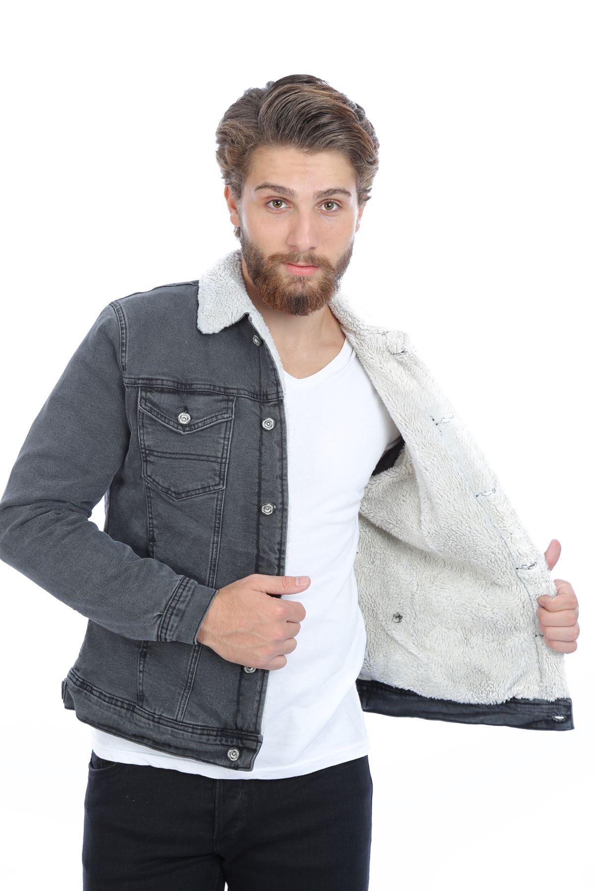 İçi Beyaz Kürklü Füme Erkek Kot Ceket