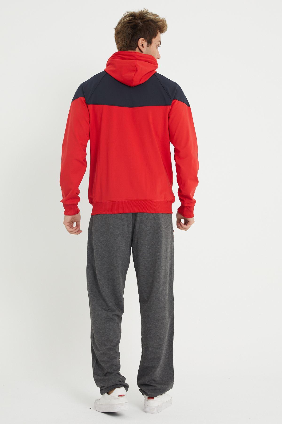 Kırmızı Erkek Beli Lastikli Paça Düz Detay Model Eşofman Takımı
