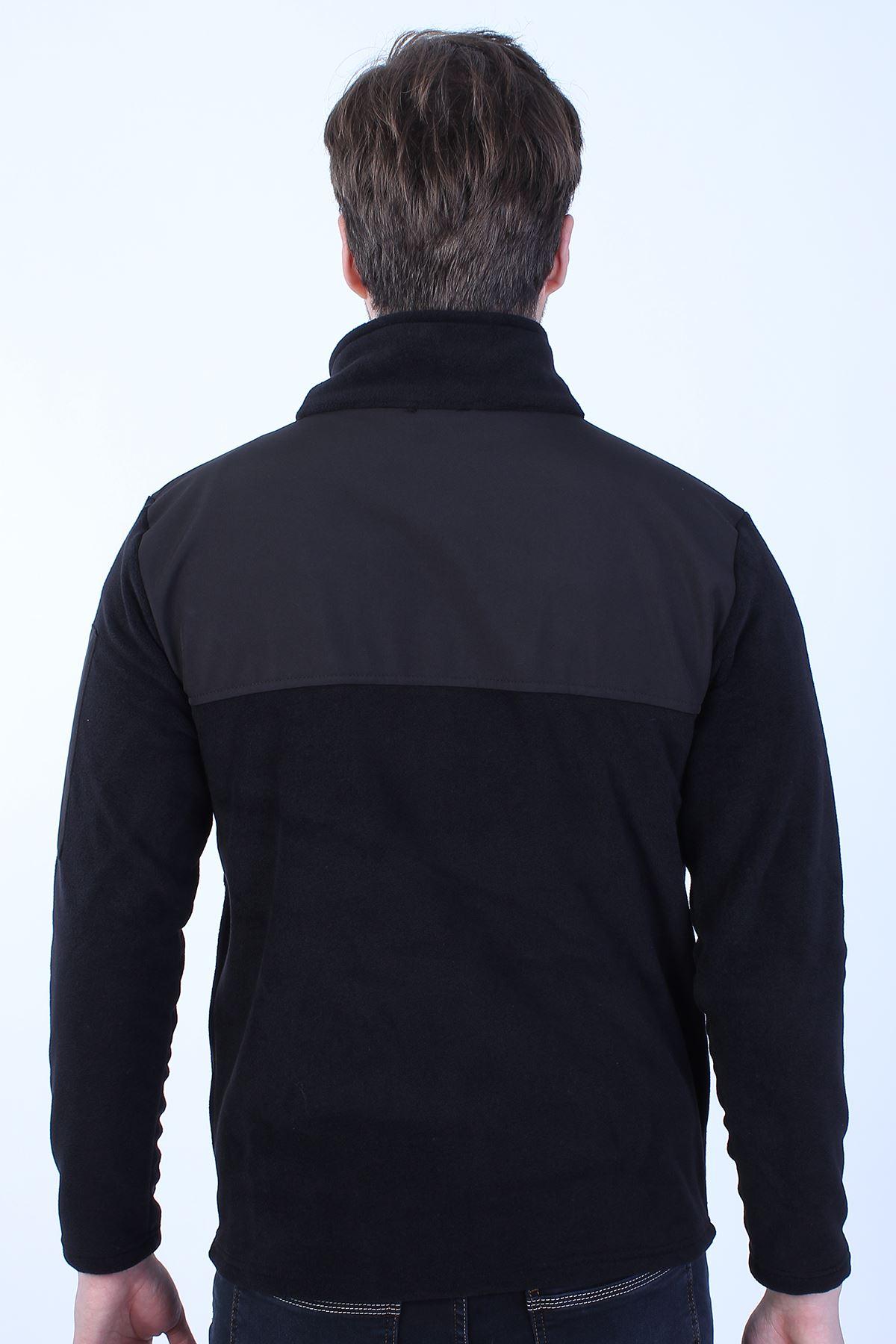 Erkek Siyah Polar Dik Yaka Kol Cep Fermuar Detay Sweatshirt