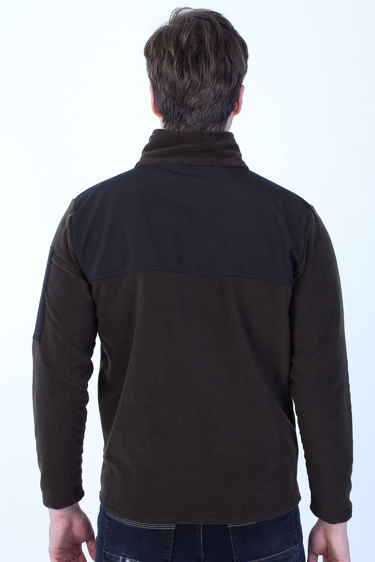 Erkek Haki Polar Dik Yaka Kol Cep Fermuar Detay Sweatshirt