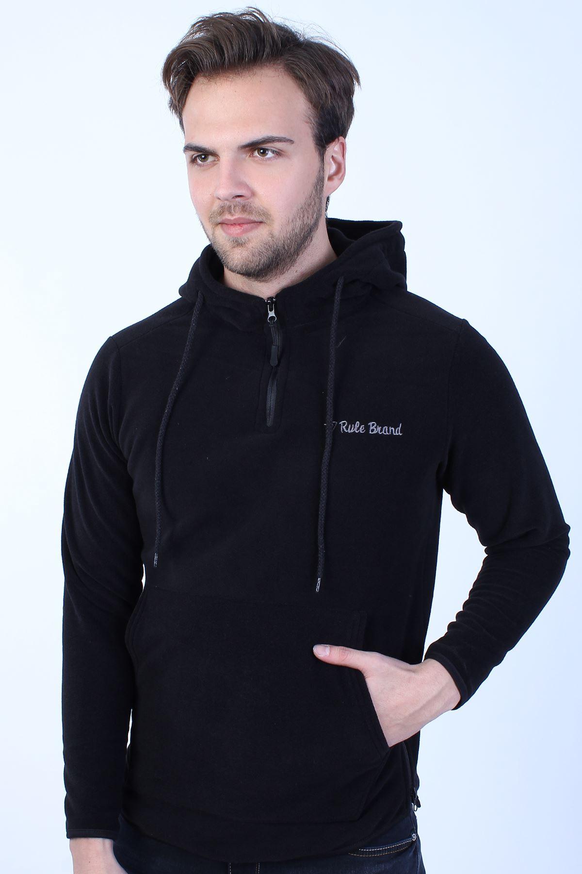 Erkek Siyah Polar Kapüşonlu Boy Yan Fermuar  Detay Sweatshirt