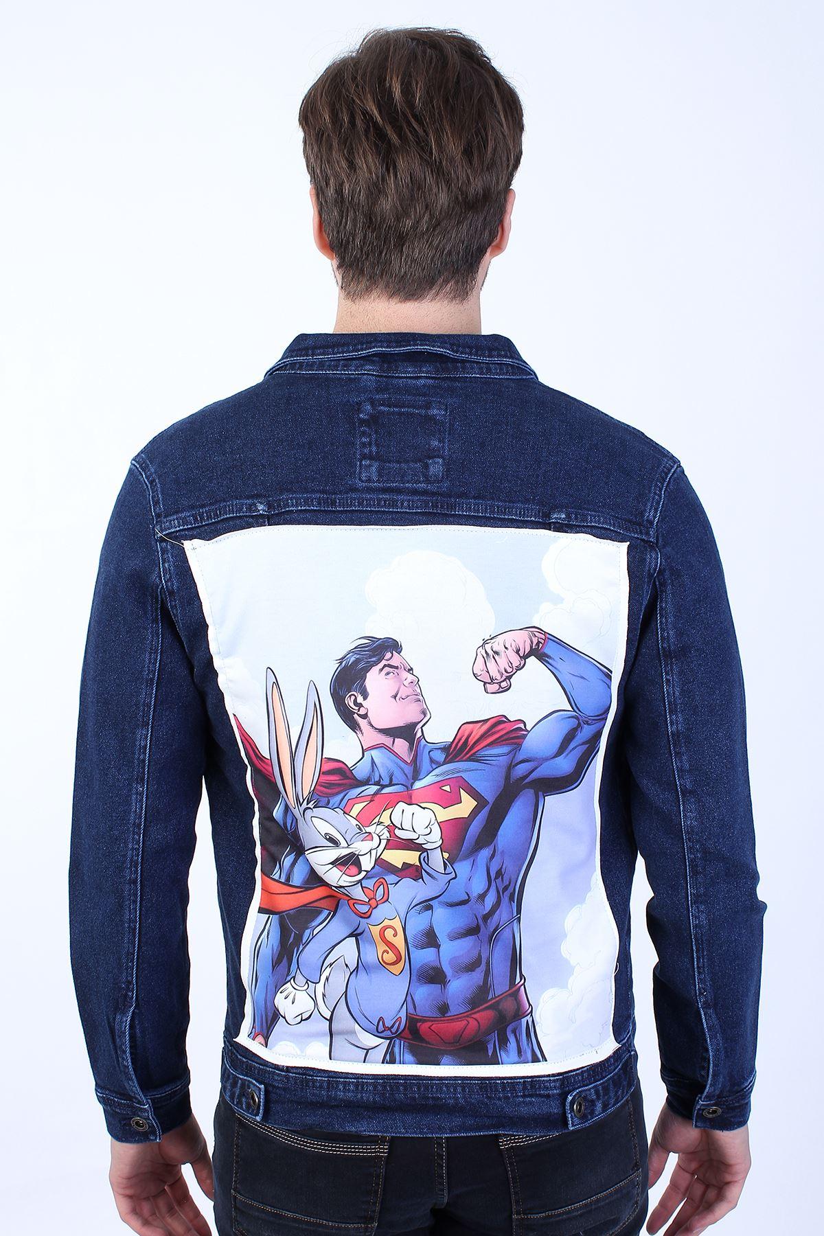 SUPERMAN Baskılı  Erkek Lacivert Yıkamalı Kot Ceket