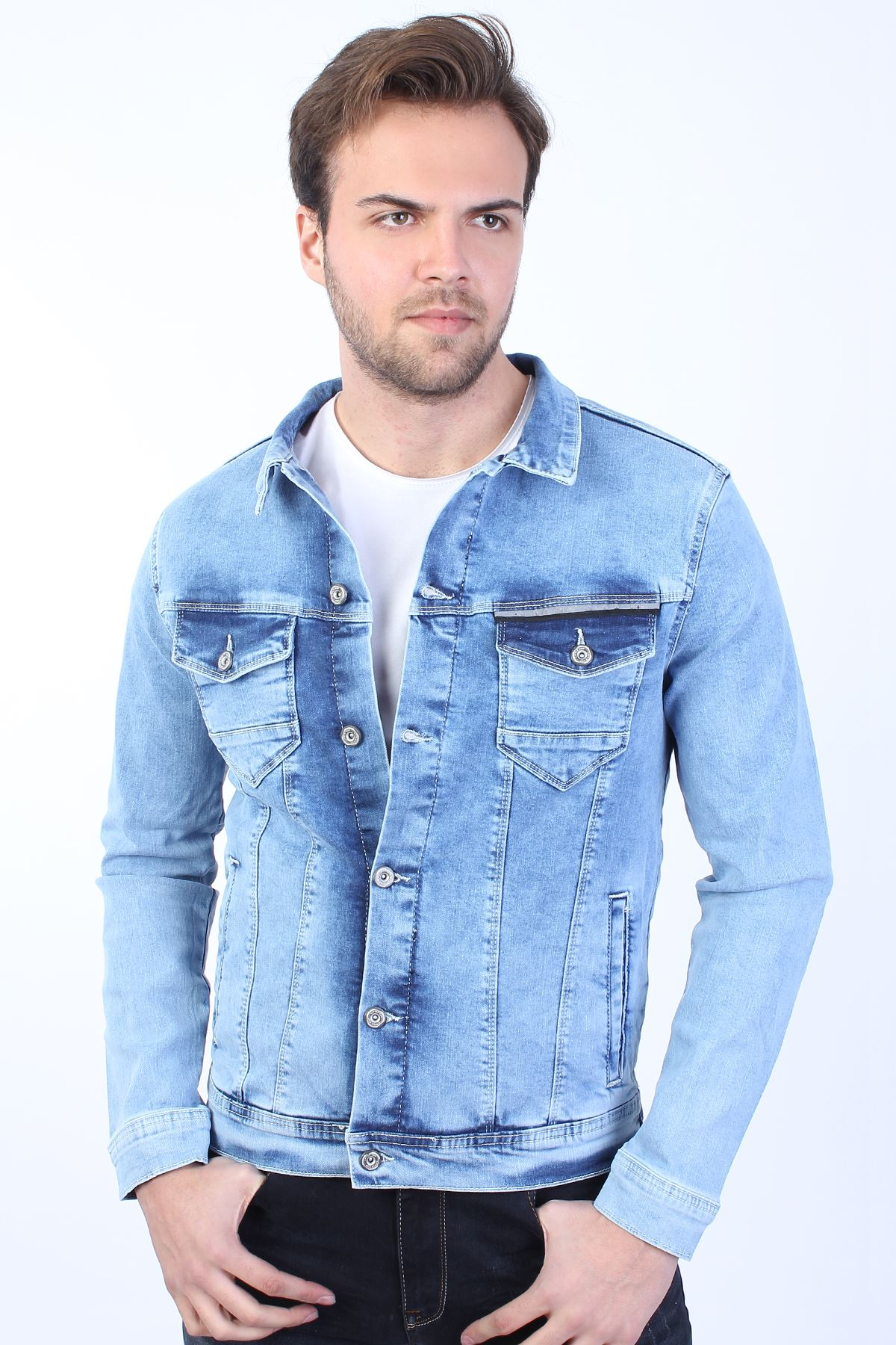 JOKER Baskılı  Erkek Buz Mavi Yıkamalı Kot Ceket