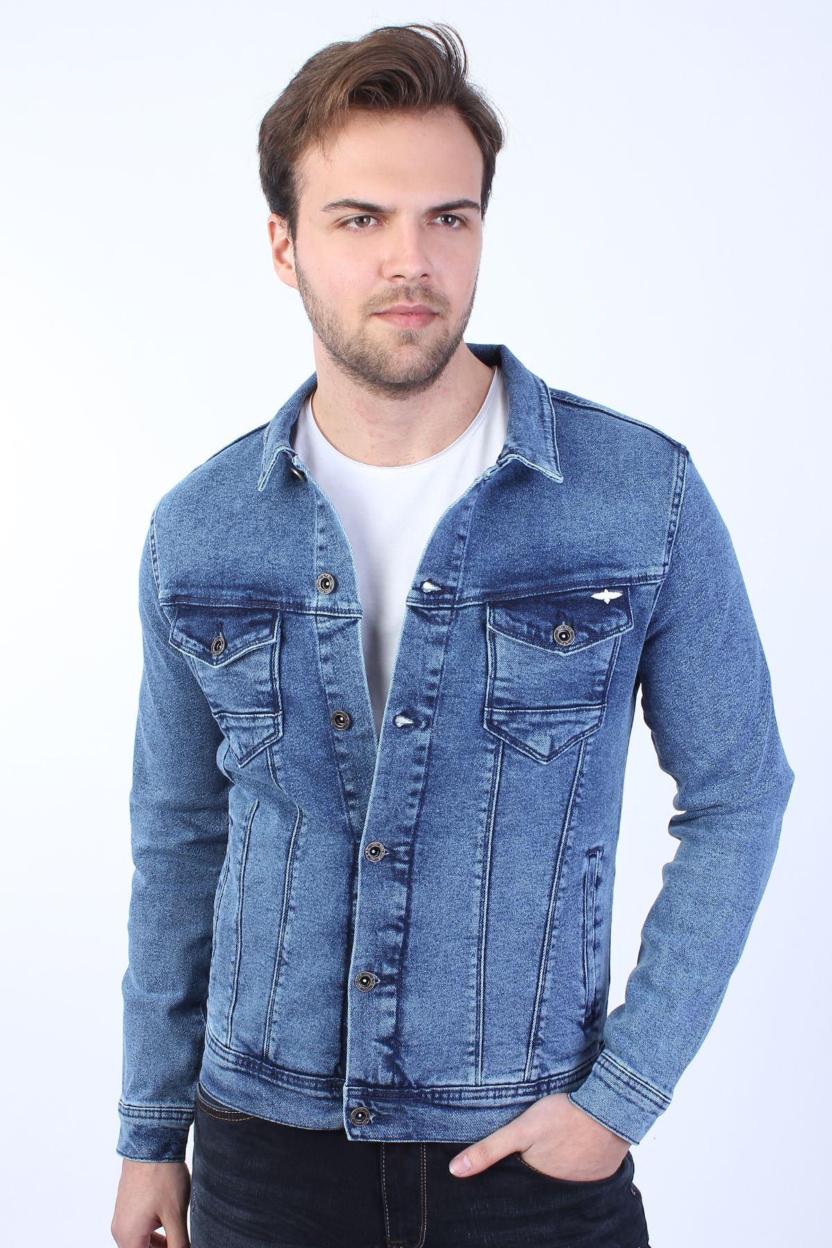 LA CASA DE PAPEL Baskılı  Erkek Mavi Yıkamalı Kot Ceket