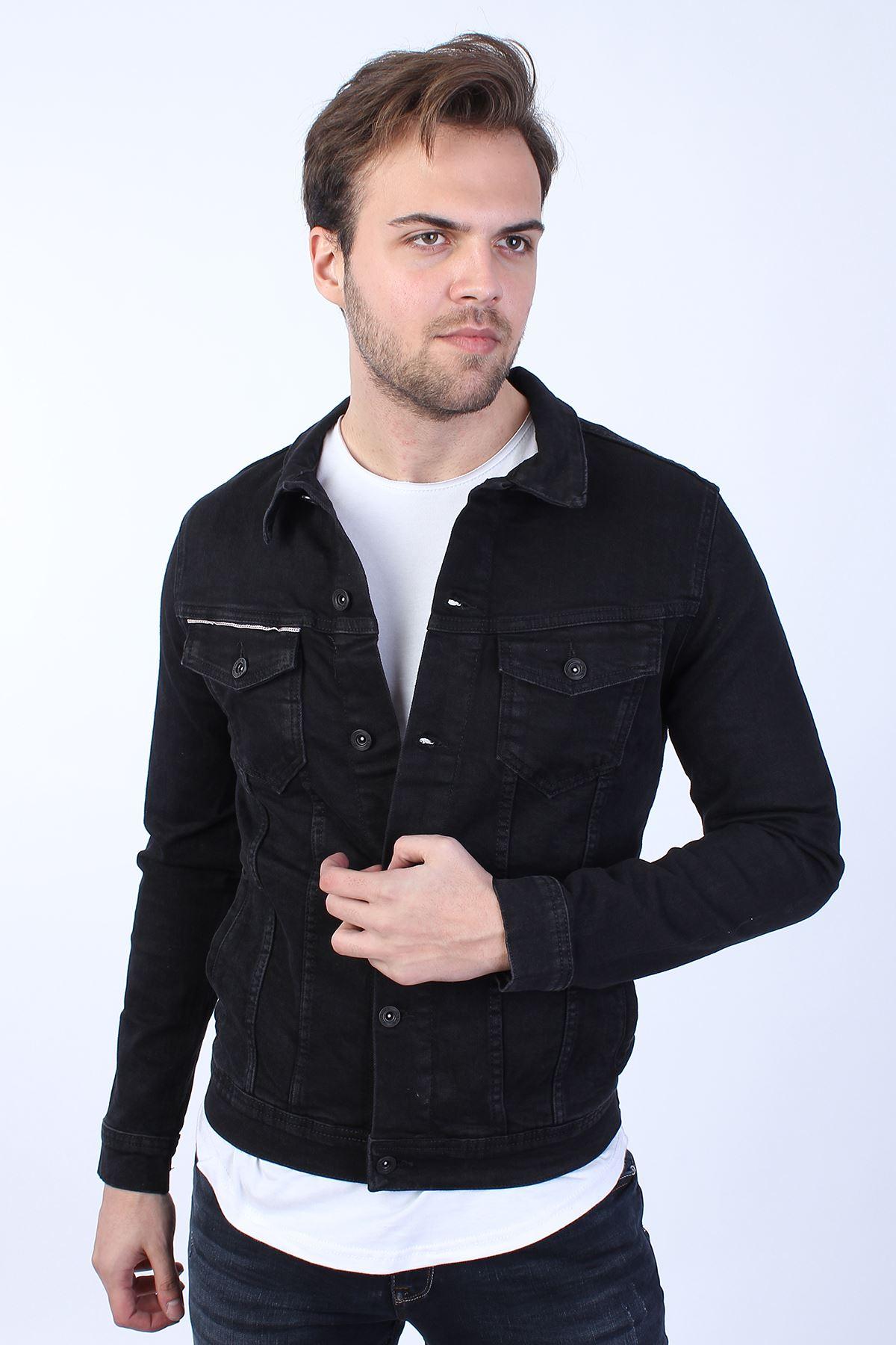 PEAKY BLİNDERS Baskılı  Erkek Siyah Yıkamalı Kot Ceket