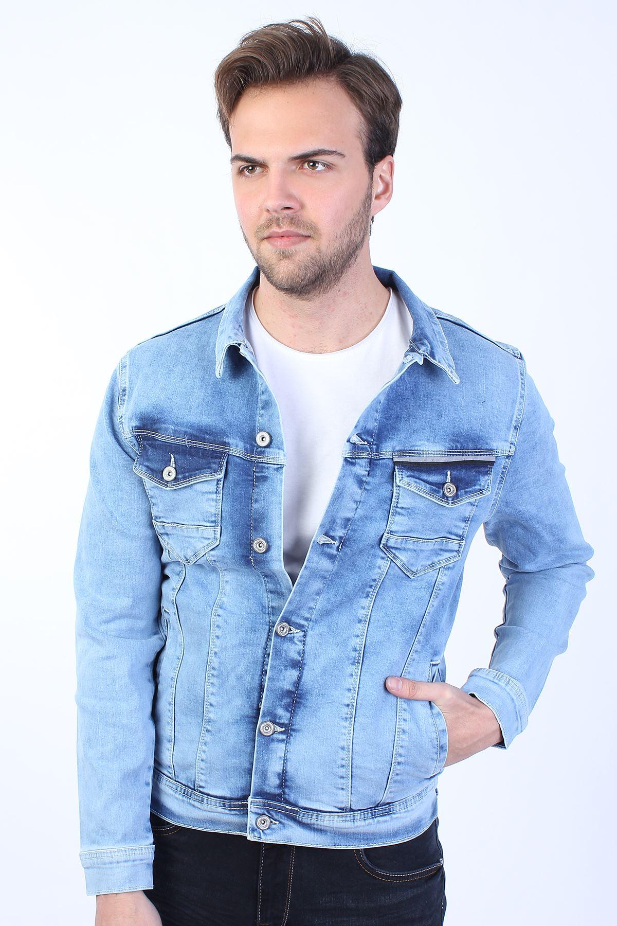 RAGNAR Baskılı  Erkek Buz Mavi Yıkamalı Kot Ceket