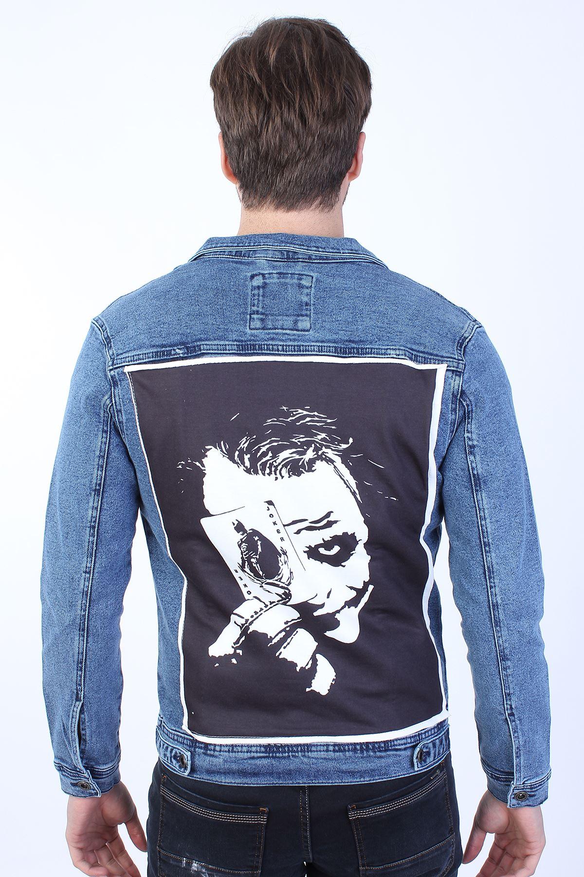 BATMAN Baskılı  Erkek Mavi Yıkamalı Kot Ceket