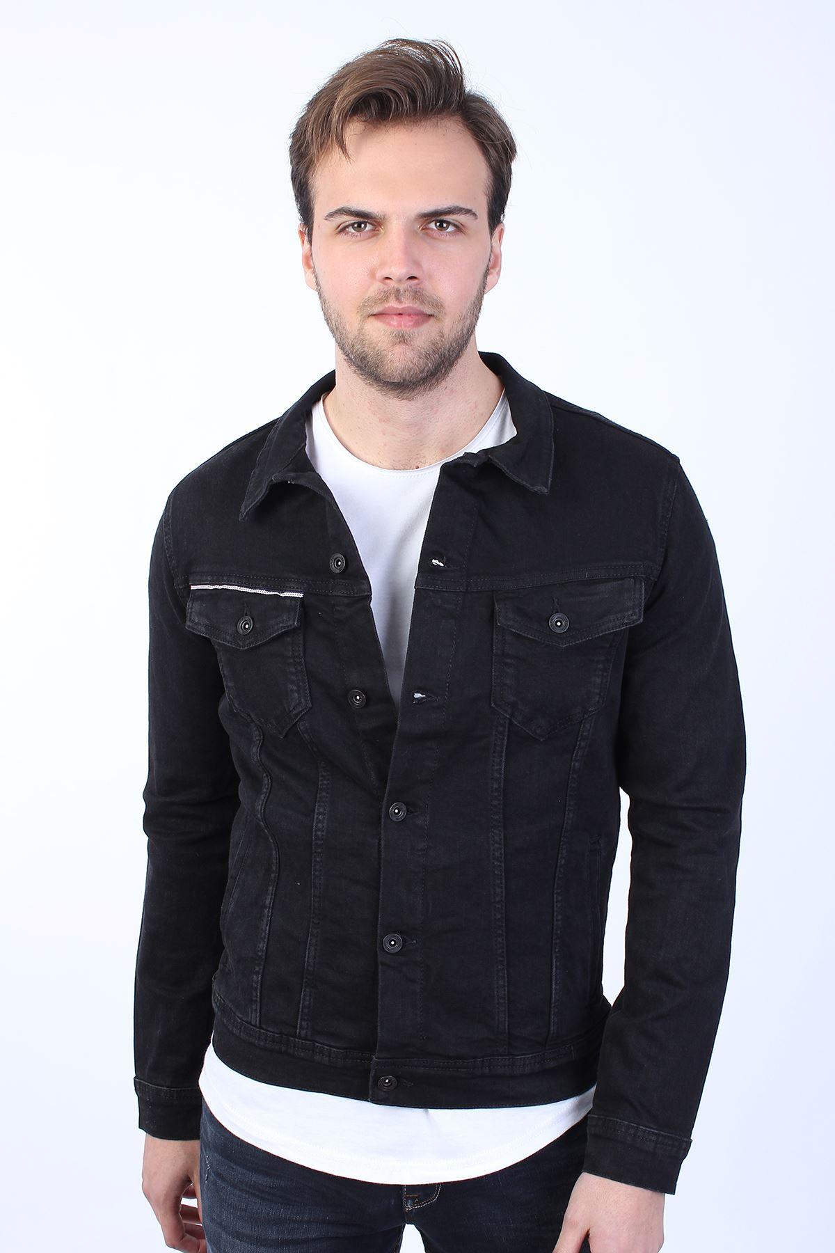 JOKER Baskılı  Erkek Siyah Yıkamalı Kot Ceket