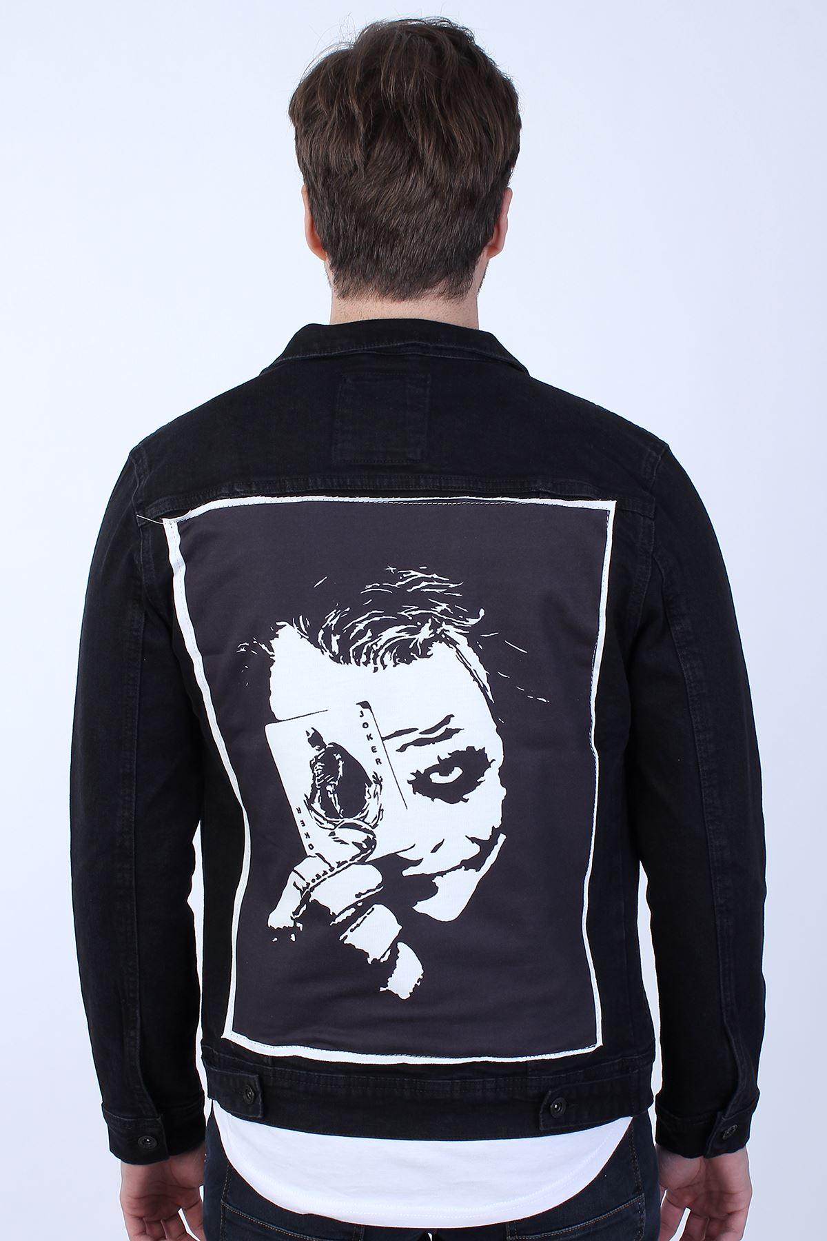 BATMAN Baskılı  Erkek Siyah Yıkamalı Kot Ceket