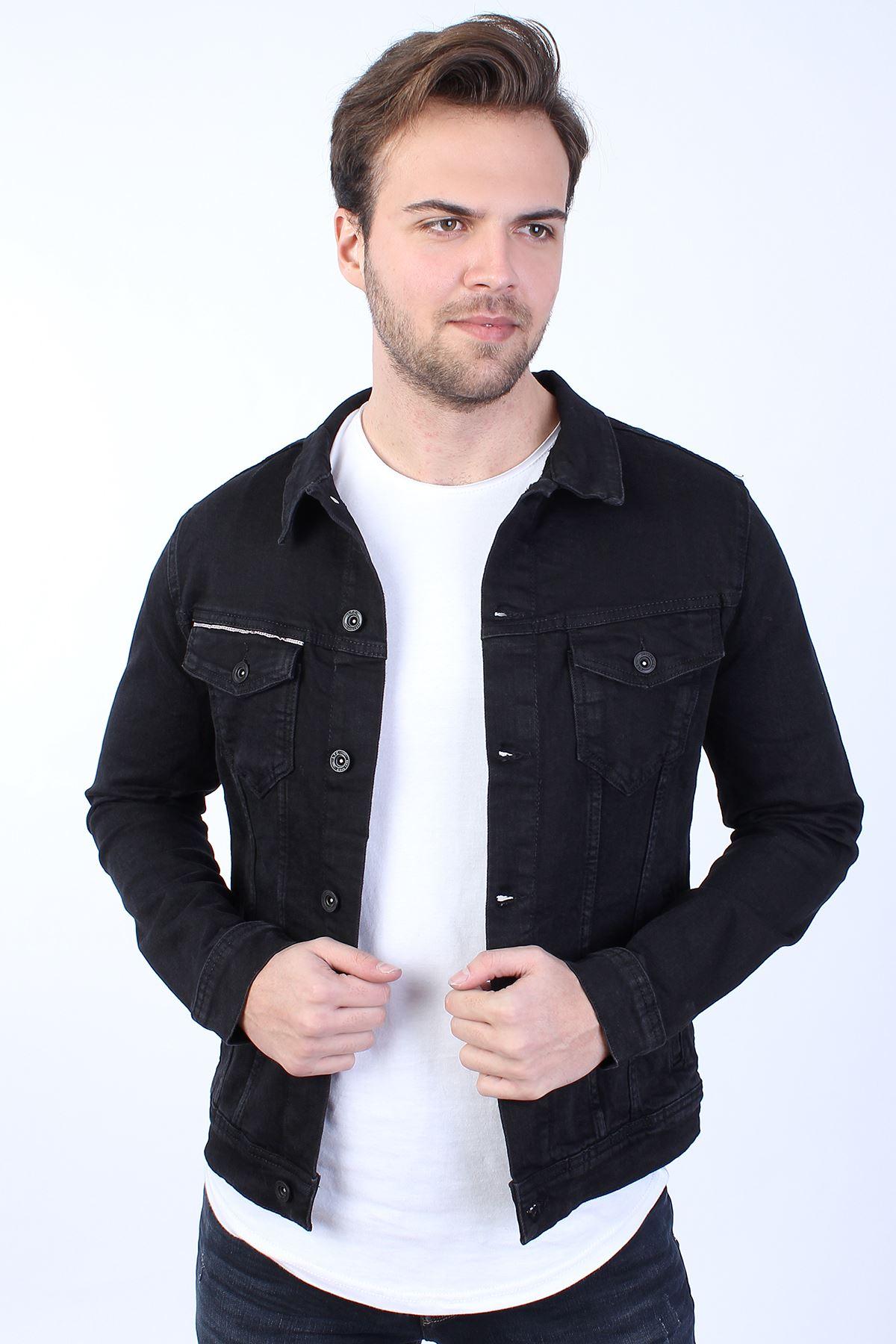 MICKEY Baskılı  Erkek Siyah Yıkamalı Kot Ceket