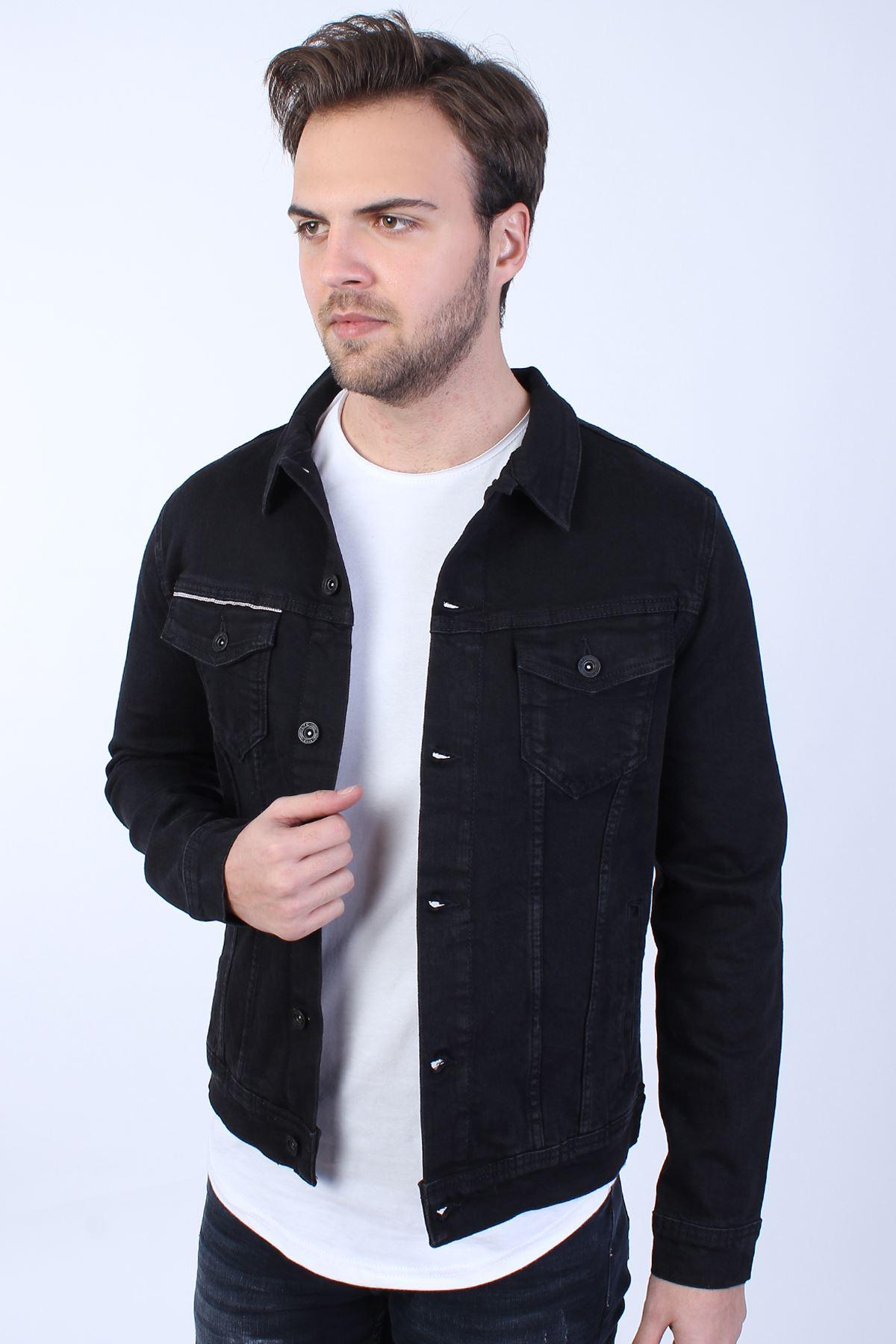 LA CASA DE PAPEL Baskılı  Erkek Siyah Yıkamalı Kot Ceket