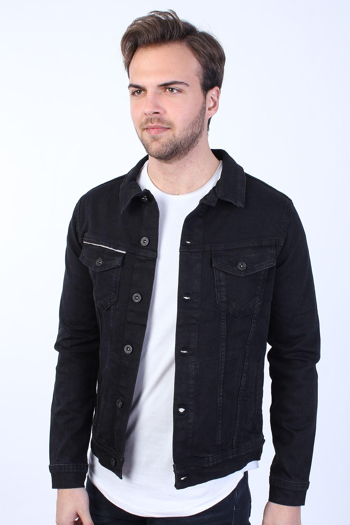 VIKINGS Baskılı  Erkek Siyah Yıkamalı Kot Ceket