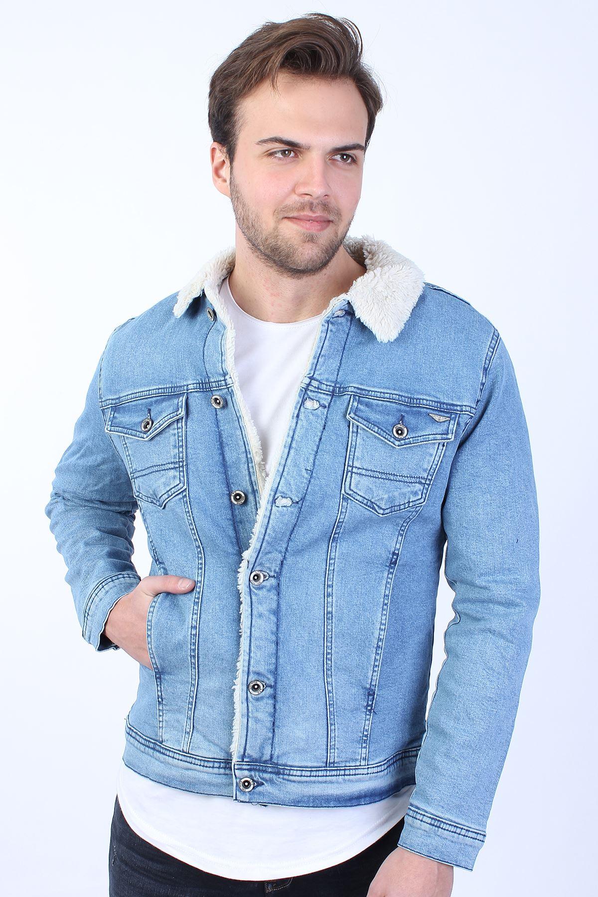 İçi Beyaz Kürklü Açık Mavi Erkek Kot Ceket