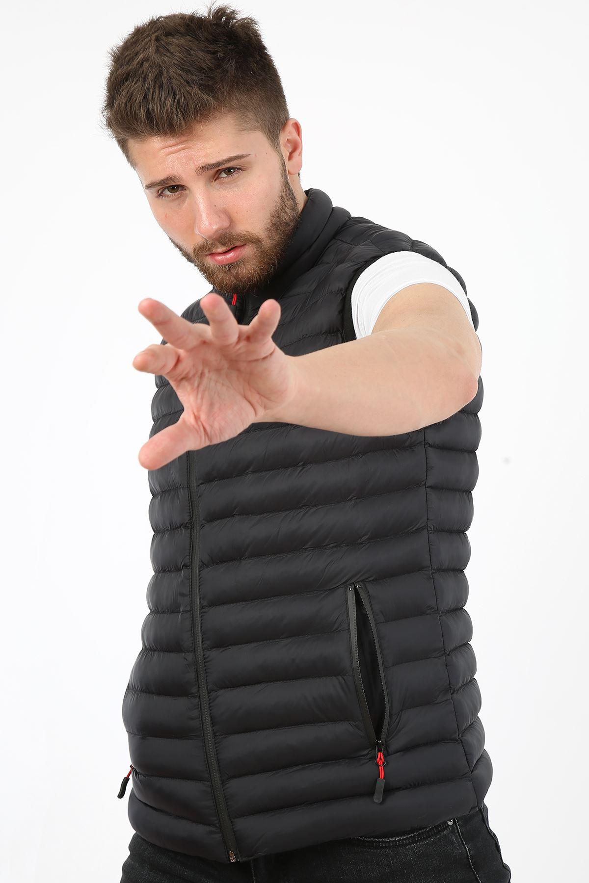 Erkek Dik Yaka Activewear İç Cep Detay Siyah Yelek
