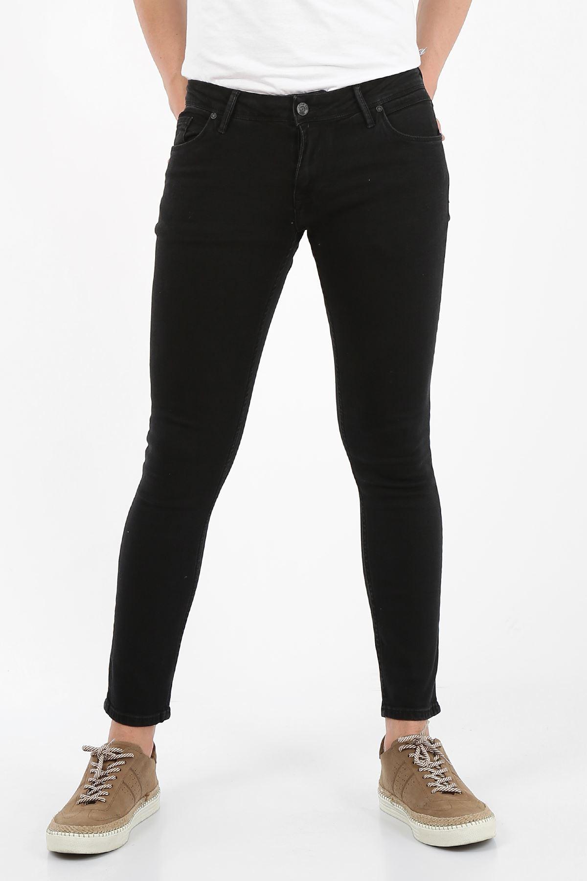 Siyah Süperslim/sknny Fit Fermuarlı Erkek Jeans Pantolon