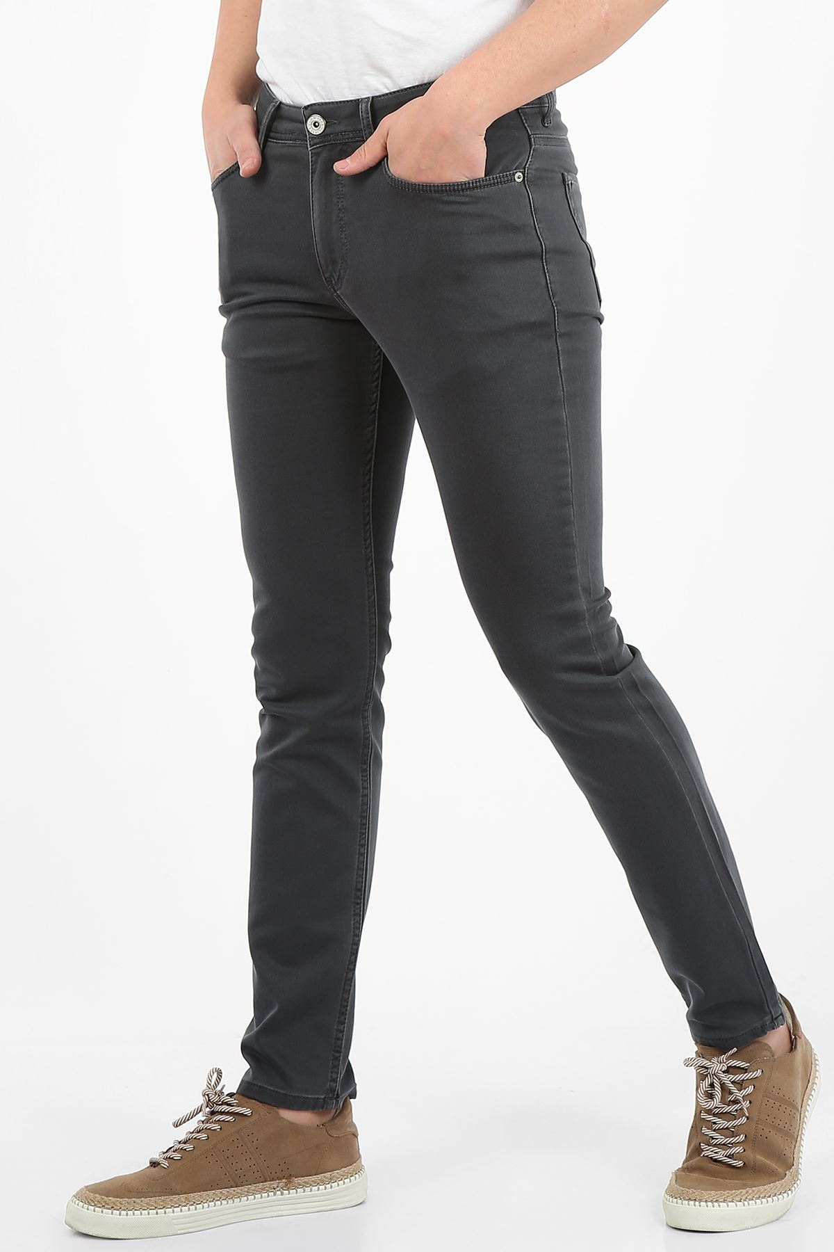 Antrasit Yumaşak Doku Yarı Slim Fermuarlı Erkek Jeans Pantolon-SAWYER