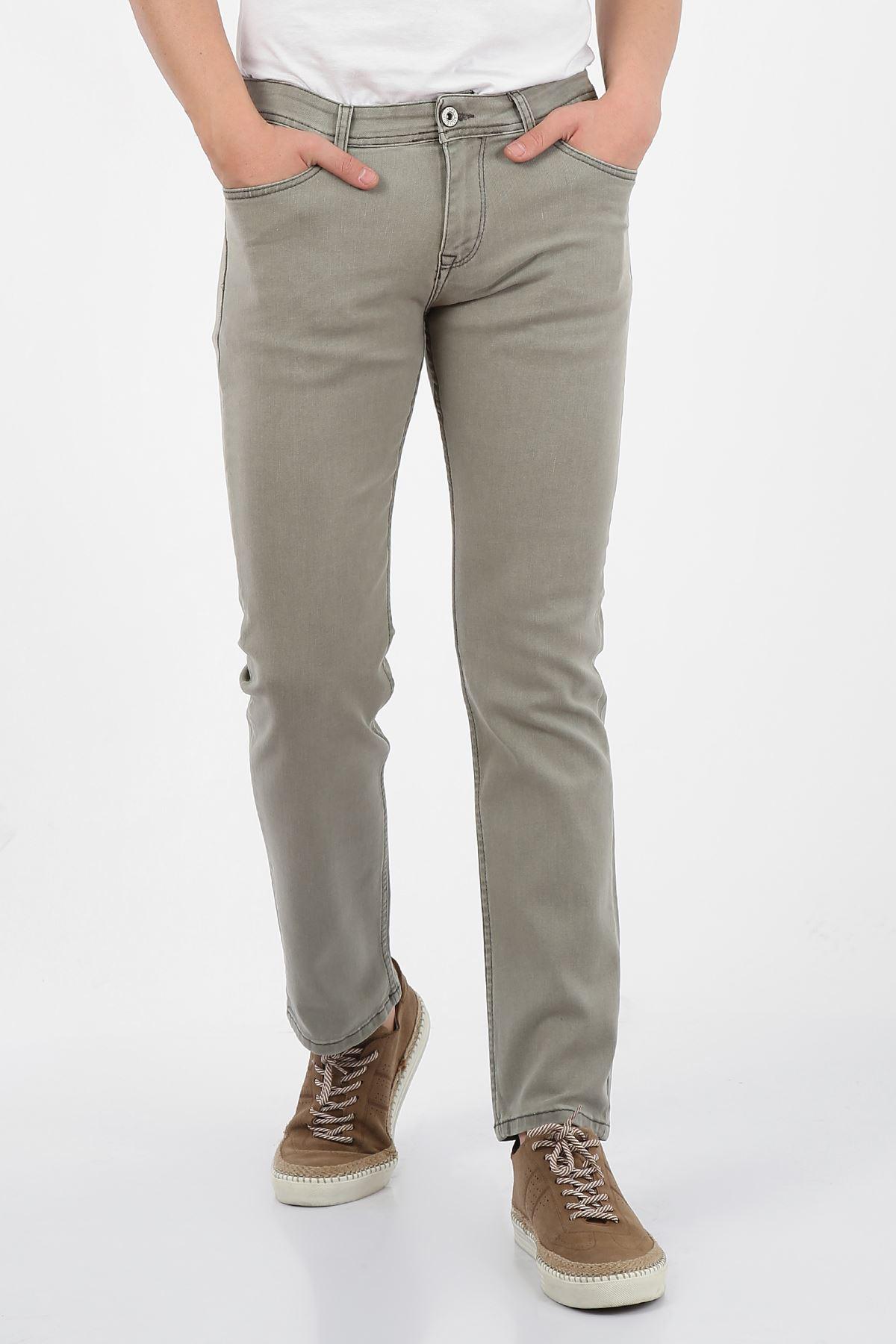 Bej Regular Fit Fermuarlı Erkek Jeans Pantolon-FARADAY