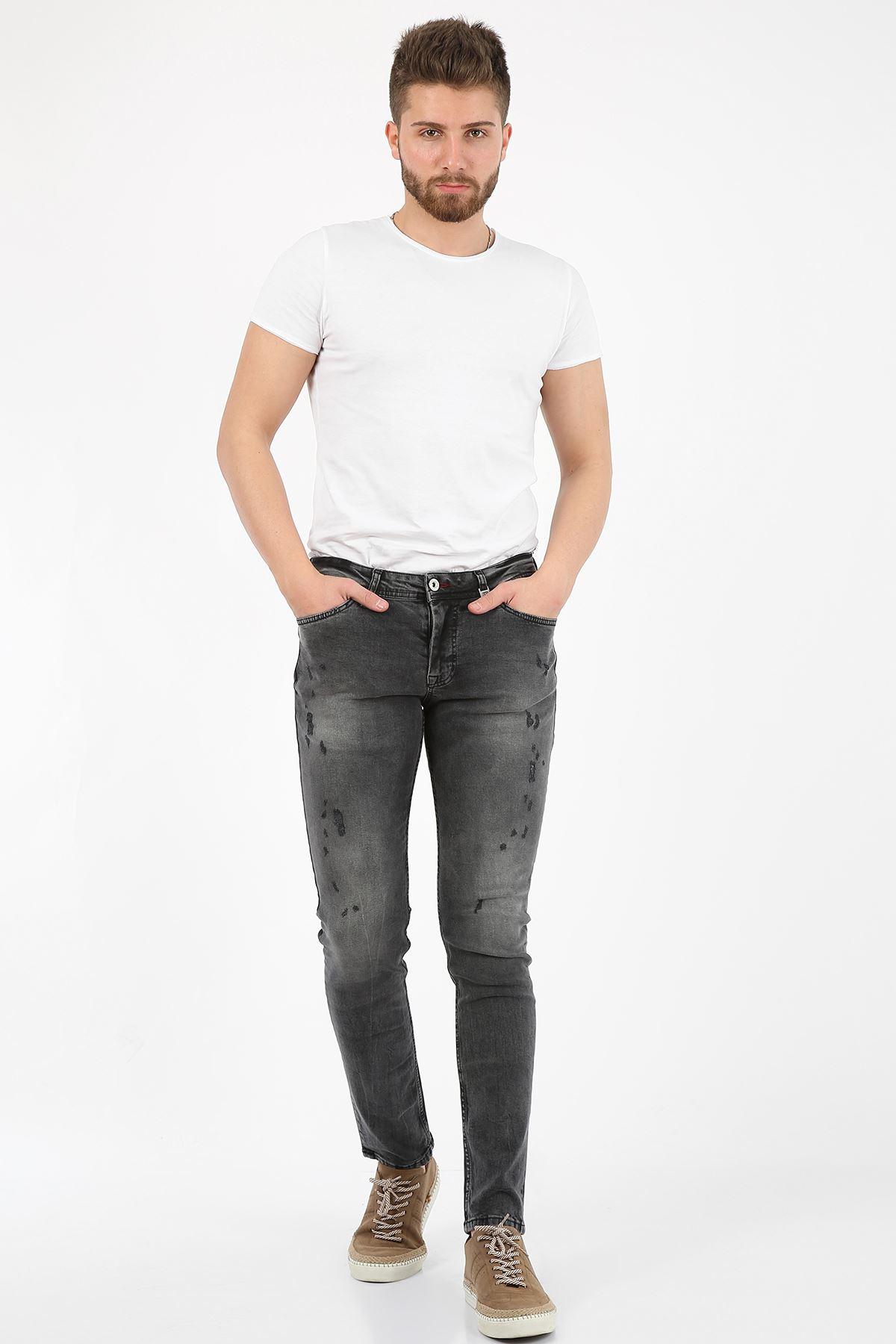 Antrasit Yıpratma Rodeo Slim Fit Fermuarlı Erkek Jeans Pantolon-JONAS