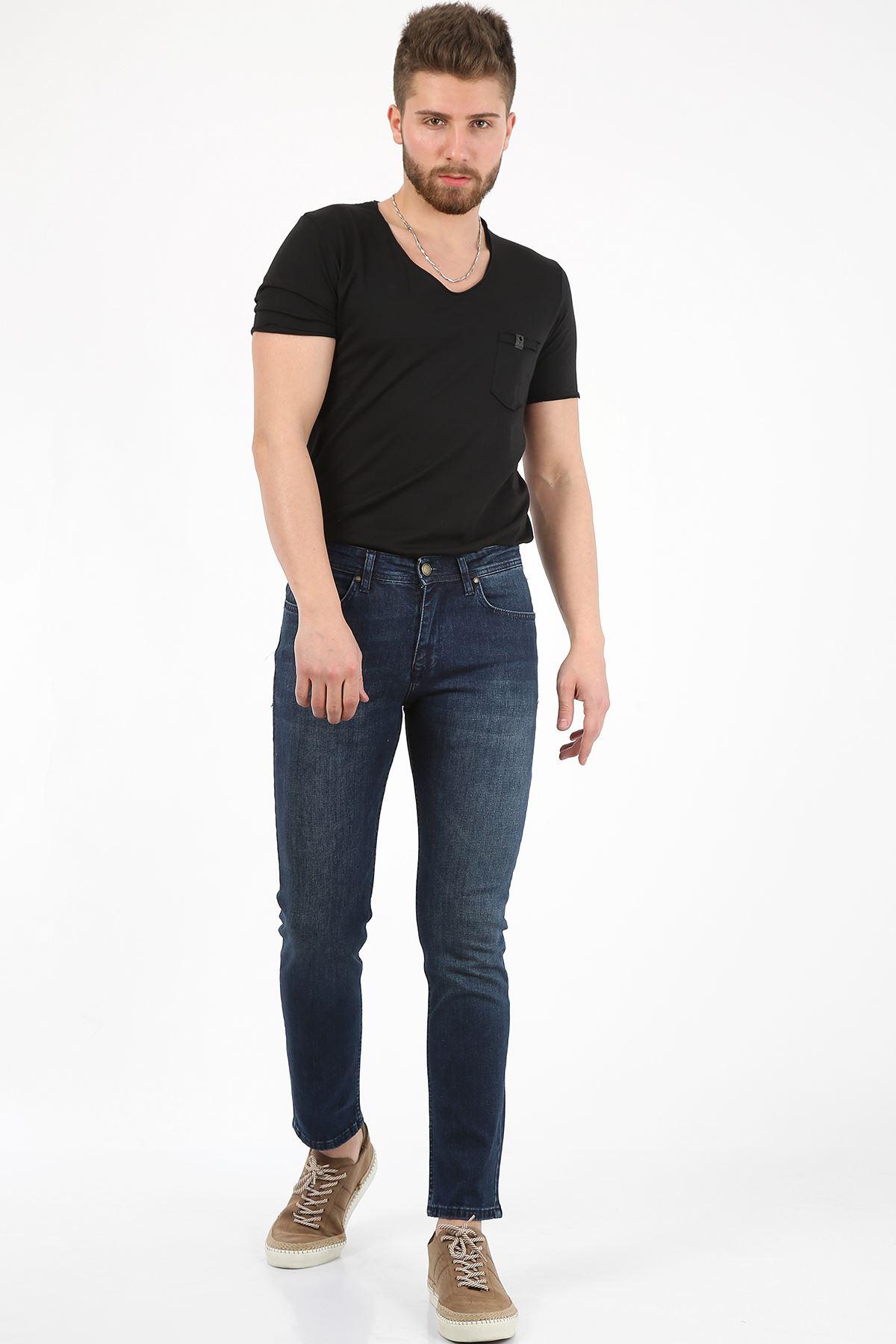 Koyu Mavi Yıpratma Slim Fit Fermuarlı Erkek Jeans Pantolon-JONAS