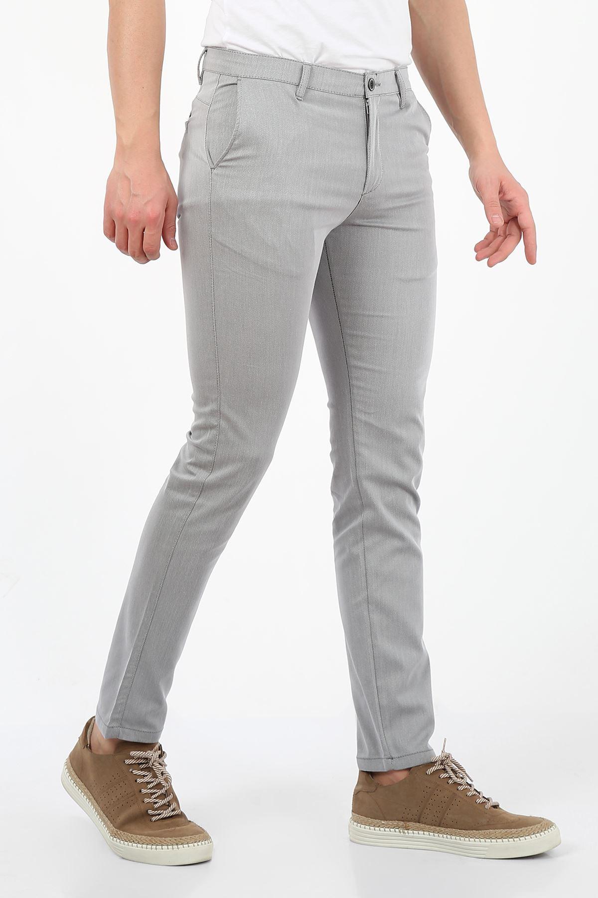 Gri Slim Fit Erkek Chino Pantolon -OLİVER