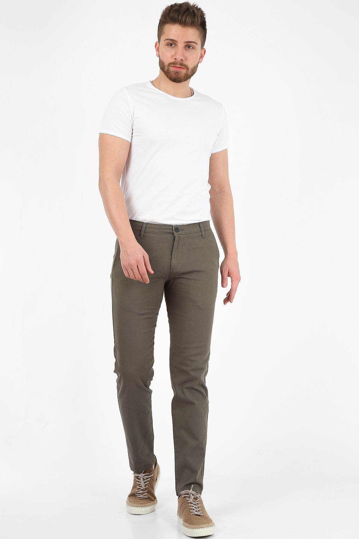 Haki Slim Fit Erkek Chino Pantolon -OLİVER