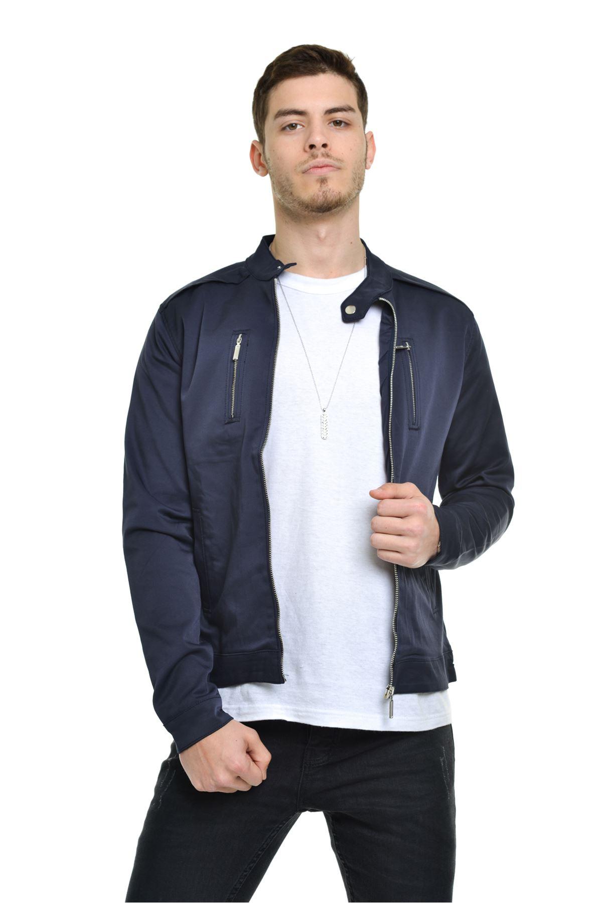 Mevsimlik İç asarlı Premium Erkek  Lacivert Ceket Mont