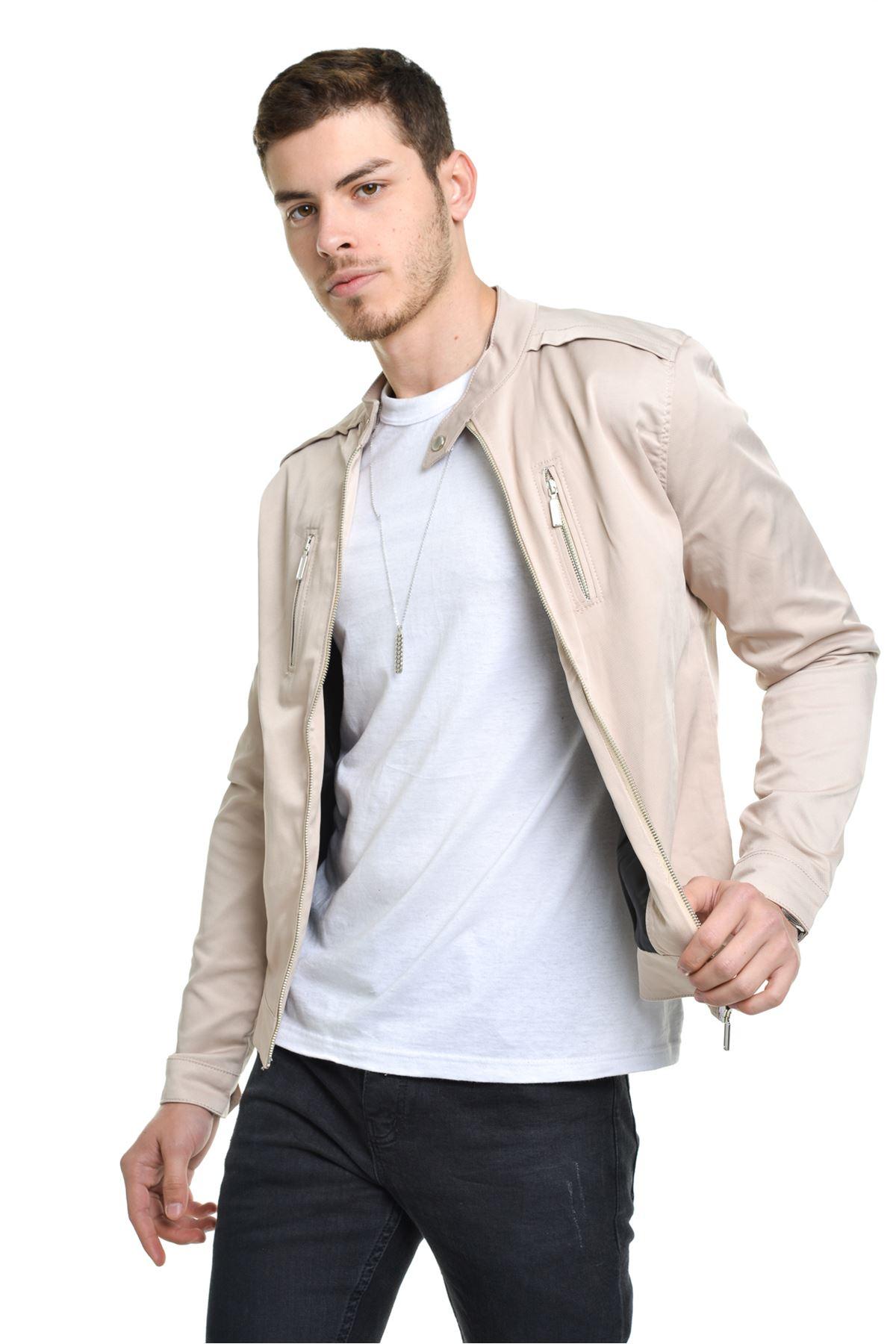 Mevsimlik İç astarlı Premium Erkek Bej Ceket Mont