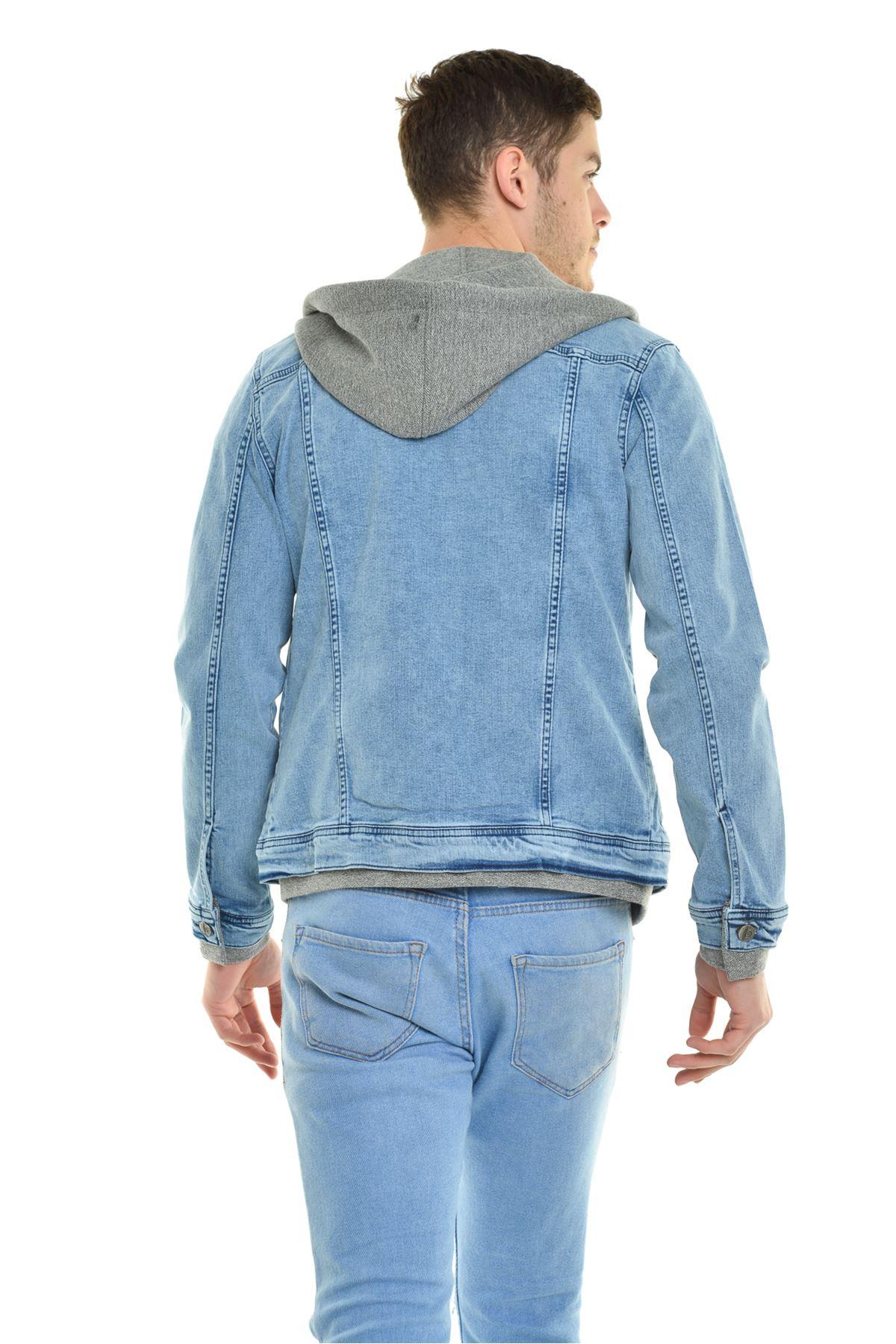 Erkek Kapüşonlu Ribana Detay Buz Mavi Yıkamalı Kot Ceket